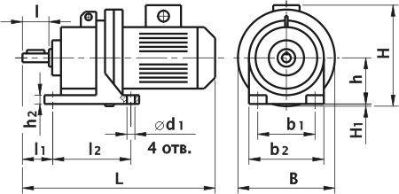 Мотор редуктор 3МП-40. Исполнение на лапах